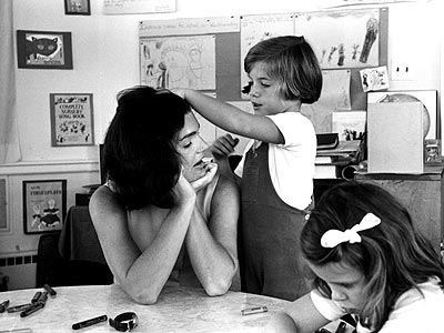 Jackie Onasis Kennedy with the children